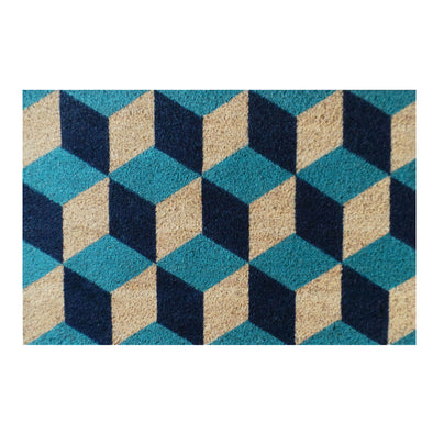"Geometric Blocks Pattern Decorative Door Mat, 18"" X 30"""