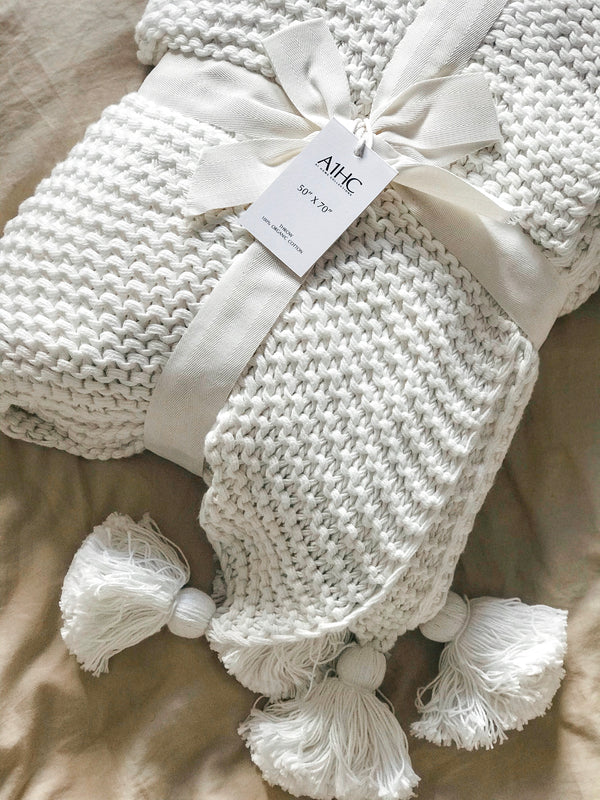 Organic Cotton Chunky Knit Throw Softwhite