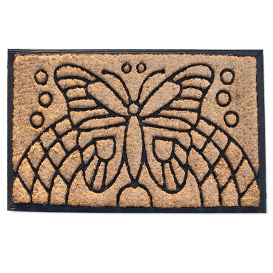 "First Impression Auden Butterfly Rubber and Coir Doormat, 18"" X 30"""