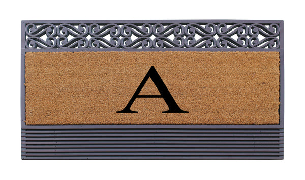 "Rubber and Coir Tray Rosewood Painted 24""X36"",Monogrammed Doormat"