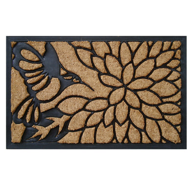 "Natural Coir and Rubber Molded Brush Mat, 18"" X 30"""