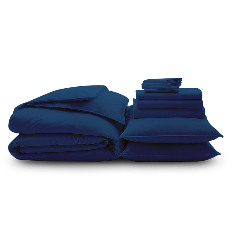 100% Organic Cotton Wrinkle Resistant Home Bundle-Navy Blue