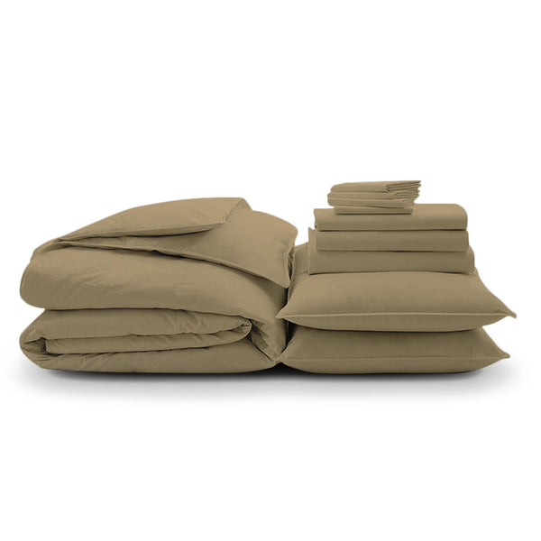 100% Organic Cotton Wrinkle Resistant Home Bundle-Sand - A1HCSHOP