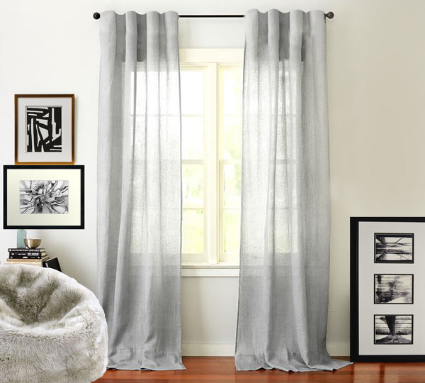 100% Sheer Linen Drape Light Grey