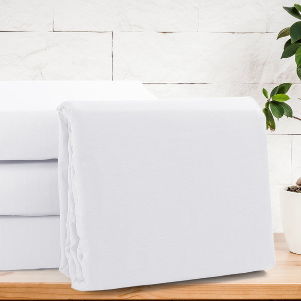 Solid Organic Cotton Wrinkle Resistant White Flat Sheet