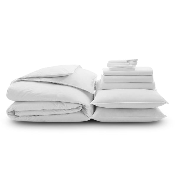 100% Organic Cotton Wrinkle Resistant Home Bundle-White
