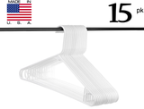Neaties USA Made White Plastic Hangers with Bar Hooks, 15pk