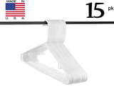 Neaties USA Made White Plastic Hangers with Hooks, 15pk