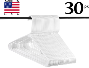 Neaties USA Made White Plastic Hangers with Hooks, 30pk