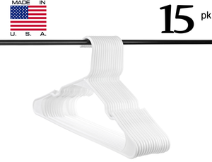 Neaties USA Made White Plastic Hangers with Notches, 15pk