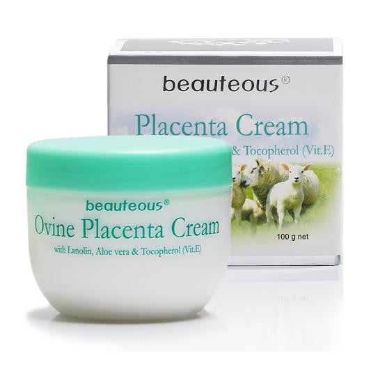 2 JARS of New Zealand Natural Beauteous Placenta Cream with Lanolin, Aloe Vera and Vitamin E, 100g