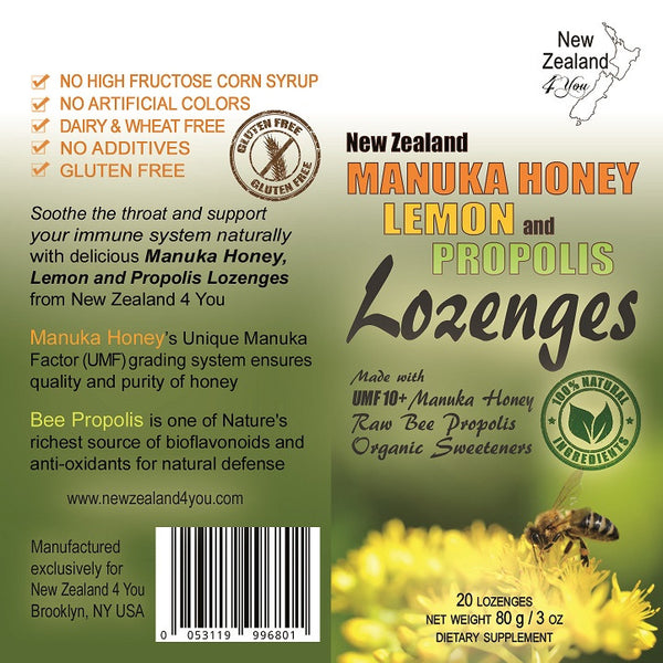 UMF 10+ Manuka Honey Lozenges with Lemon and Raw Bee Propolis, 3 oz