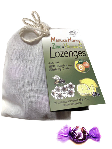 Manuka Honey Zinc and Vitamin C Lozenges - Soothe your throat and support immune system naturally
