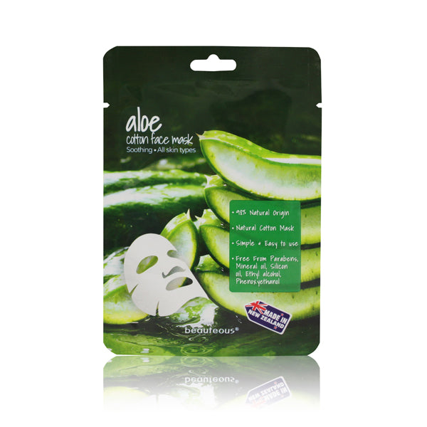 beauteous Aloe Natural Cotton Face Mask, 1 sheet or 10 sheets