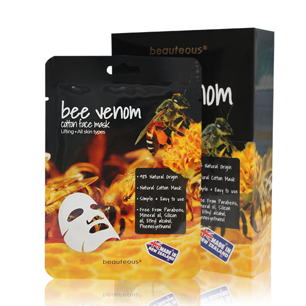 beauteous Bee Venom Natural Cotton Face Mask, 1 sheet or 10 sheets
