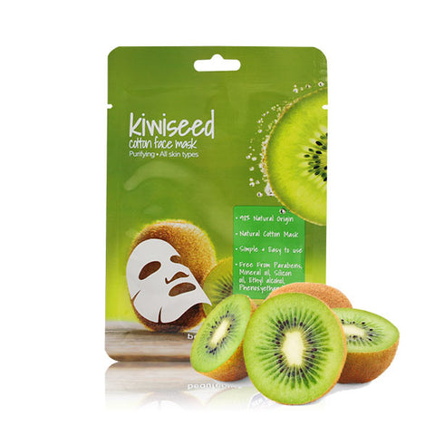 beauteous Kiwi Seed Natural Cotton Face Mask, 1 sheet or 10 sheets