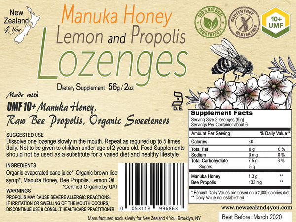 (4-Pack) UMF 10+ Manuka Honey Lemon Propolis Lozenges - Soothe your throat, support immune system