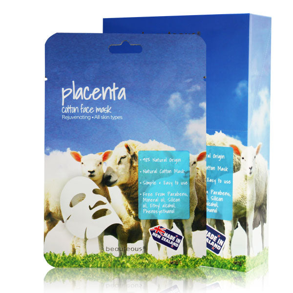 beauteous Placenta Natural Cotton Face Mask, 1 sheet or 10 sheets