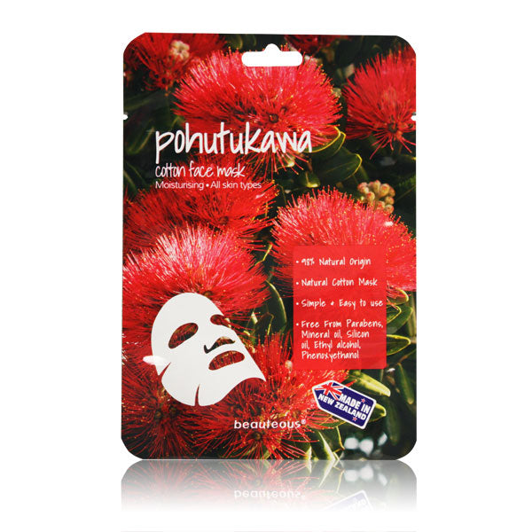 beauteous Pohutukawa Natural Cotton Face Mask, 1 sheet or 10 sheets