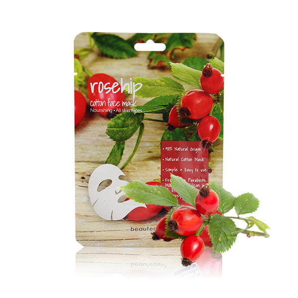 beauteous Rosehip Natural Cotton Face Mask, 1 sheet or 10 sheets