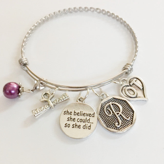 Occupational therapy charm bracelet//she believed she could//OT graduation//