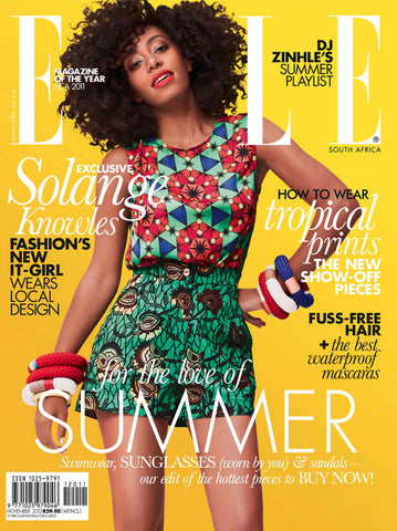 Solange rocks the cover of Elle in African Print