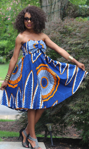 Suni Bow Dress - African Ankara Print