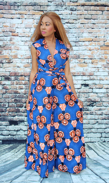 Selma Convertible Jumpsuit - Blue African Print