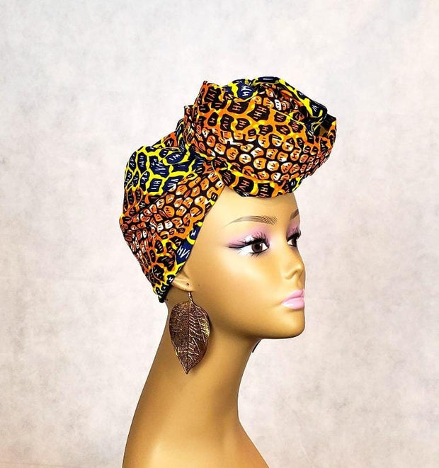 African animal print head wrap
