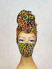African Print Head Wrap/Scarf & Face Mask Set - Gold Tones