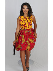 African Print Crop Top with Matching Red skirt