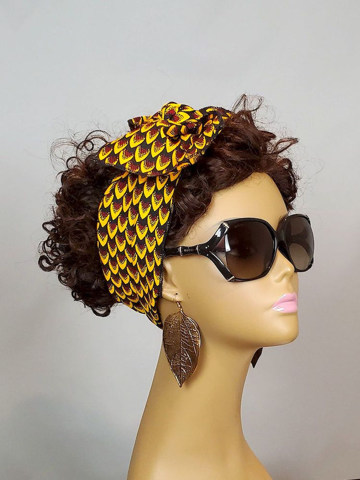 African Print Headband - Brown/Gold Ankara Head Band