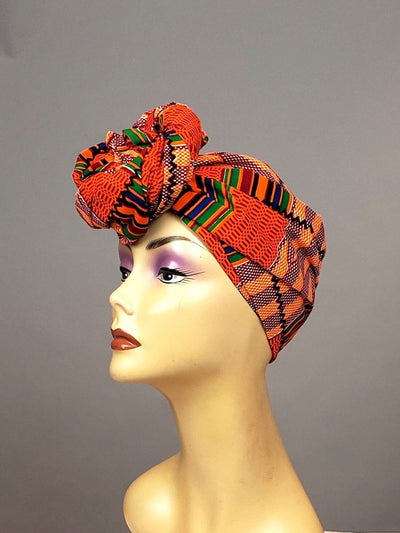 african kente head wrap orange