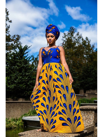African Print Maxi Dress - Blue Yellow - Two Prints - ASHANIS COLLECTION