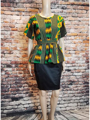 African Party Top with Rhinestones - Green Kente