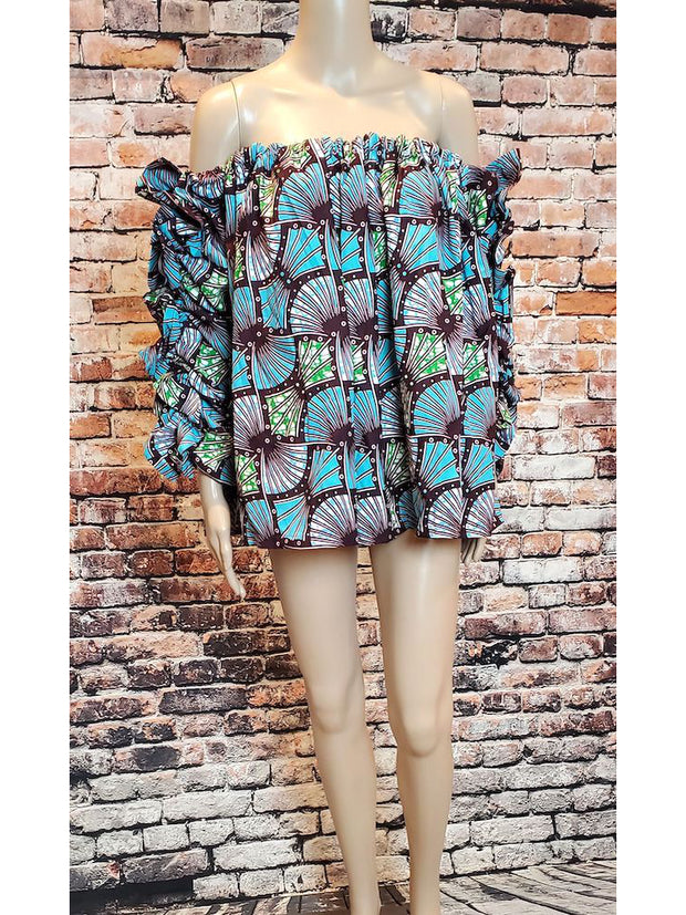 African Print Off Shoulder Top Blue - Paula - ASHANIS COLLECTION