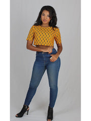 African Print Crop Top Ankara Yellow