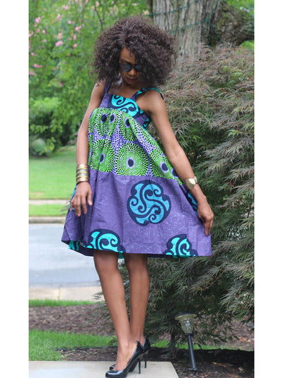 african-print-dress-purple-green-party-office-church