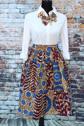 TRINA African Print Midi Skirt - Blue / Brown