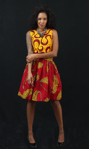 Sasha Set (Top & and Mini Skirt) - African Ankara Print