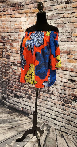Nia African Print Top - Off Shoulder