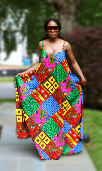 Wumi Maxi Dress - African Print - Multi Colors