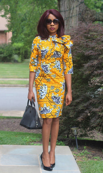 Tanya Bow Dress Yellow - African Print