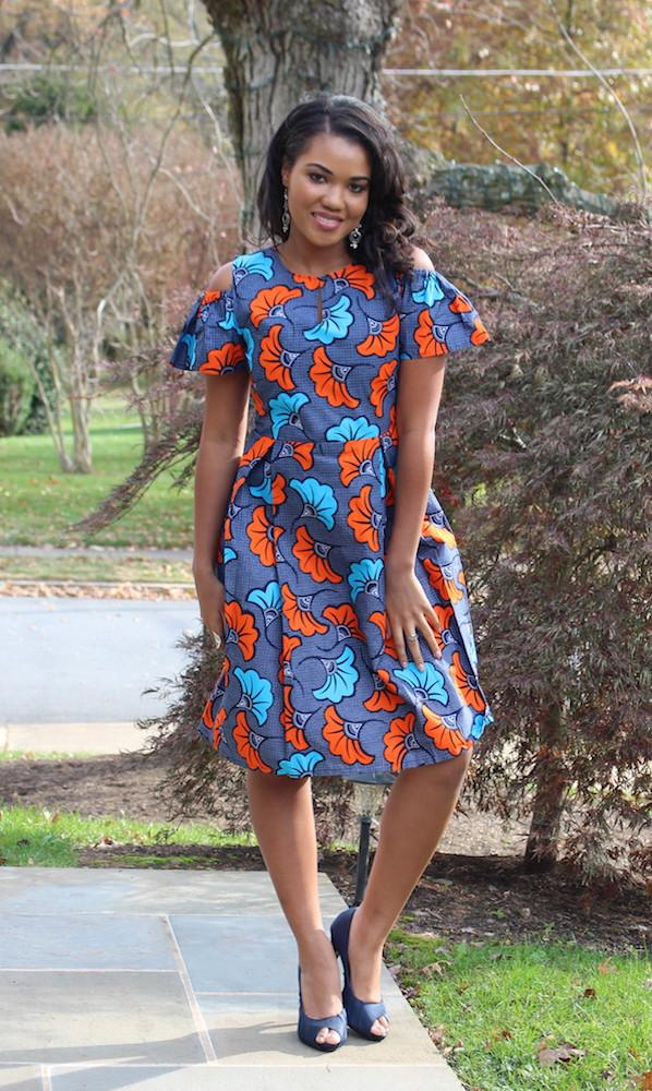 African Print Cold Shoulder Dress - Blue Ankara Gown - Dina - ASHANIS COLLECTION