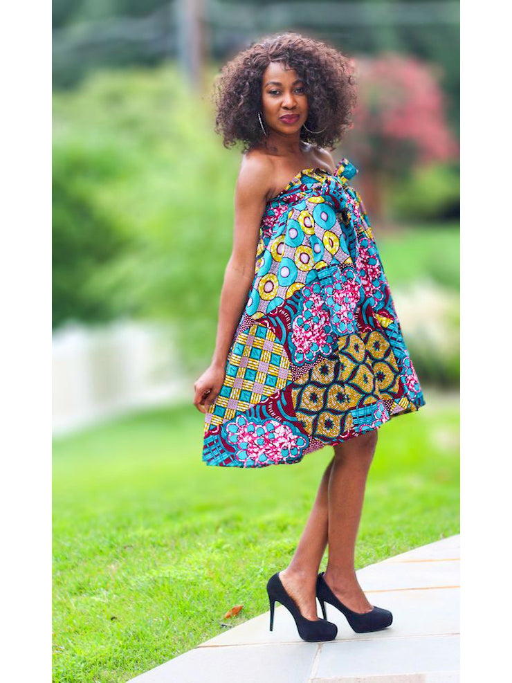 African Convertible Dress or Skirt - Purple Patch Print - Tara