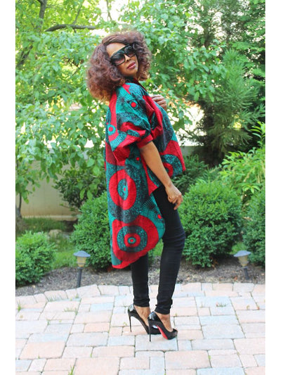 African Tunic Top - Ankara High Low Blouse - Green & Red