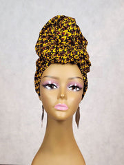 african turban wrap brown gold ankara