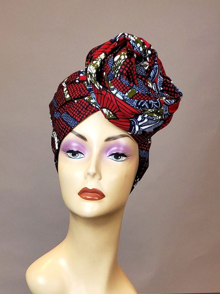 African Turban Wrap - Red Gray - ASHANIS COLLECTION