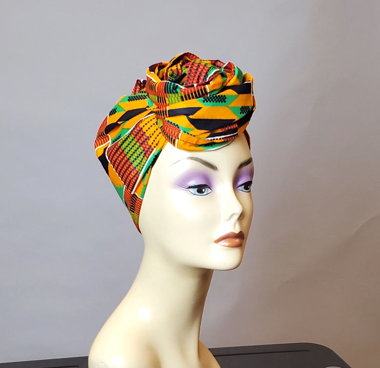 African Kente Blouse with Side Slits - Zie (matching Headwrap)