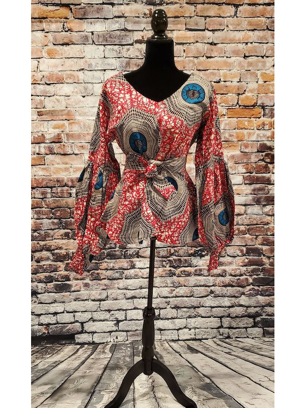 Ankara Blouse with Trumpet Sleeves - Red African Print Top